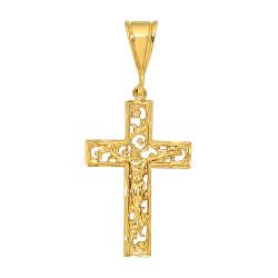 Large 36mm x 5.5 cm 14k Gold Plated Open Filigree Vine Crucifix Pendant,