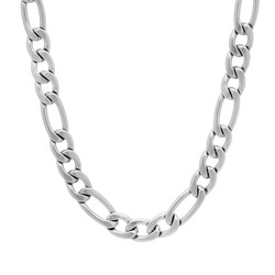 7mm High-Polished Stainless Steel Flat Figaro Chain Necklace