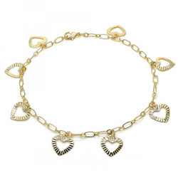 3.2mm Polished 0.25 mils (6 microns) 14k Yellow Gold Plated Cable Charm Anklet, 10 inches