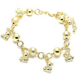 10.1mm Polished 0.25 mils (6 microns) 14k Yellow Gold Plated Bead Chain Anklet, 11 inches