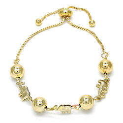 8.1mm Polished 14k Yellow Gold Plated Bolo Bracelet, 9.5 inches