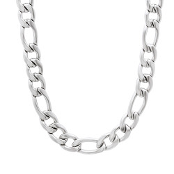 Men's 7mm High-Polished Stainless Steel Flat Figaro Chain Necklace + Gift Box