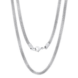 4.3mm High-Polished Stainless Steel Flat Mesh Chain Necklace
