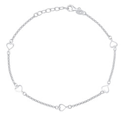 1.9mm Solid .925 Sterling Silver Round Charm Anklet, 10 inches