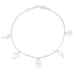 1.7mm High-Polished .925 Sterling Silver Cable Charm Anklet, 10.5 inches
