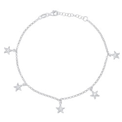 2mm Solid .925 Sterling Silver Round Charm Anklet, 10 inches