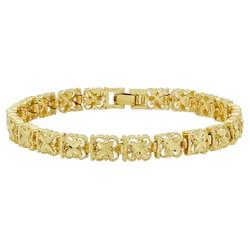 7mm Gold Plated Four Leaf Clover Link Bracelet + Microfiber