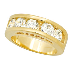 7mm Gold Plated Channel Set Round CZ Band Ring + Microfiber