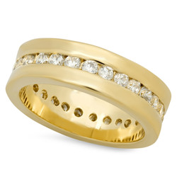 5.5mm Gold Plated Channel Set Round CZs Eternity Band Ring + Microfiber