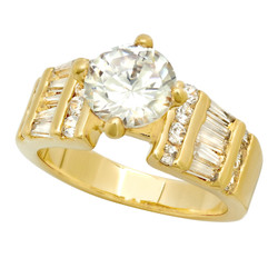8mm Gold Plated Round CZ Solitaire Ring w/Baguette & Round CZs + Microfiber