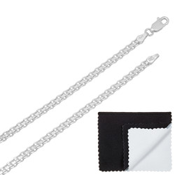 3mm Solid .925 Sterling Silver Flat Bismark Chain Necklace