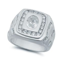 Rhodium Plated Square Top Cubic Zirconia Ring + Microfiber