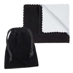 Black Plated Titanium 8mm Comfort Fit Ring w/Black CZs & Notched Edges + Microfiber