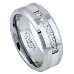 8mm High-Polished Tungsten Silver Cubic Zirconia Band Ring, Size 7,8,9,10,11,12,13,14,15 (US)