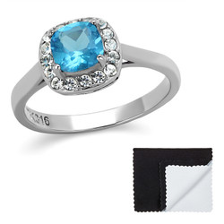 Stainless Steel Aqua Cushion Cut Cubic Zirconia Promise Ring