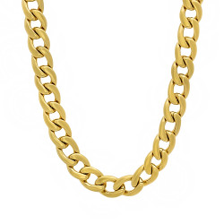 7mm Polished 0.25 mils (6 microns) 14k Yellow Gold Plated Flat Cuban Link Curb Chain Necklace