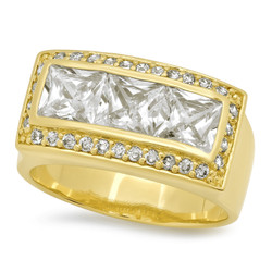Men's 14k Gold Plated Channel Set Princess Cut Bling Cubic Zirconia Ring, Size 7-12 + Microfiber Cloth