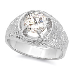 Rhodium Plated Solitaire Ring With CZ Stones + Microfiber