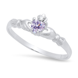 Sterling Silver Claddagh June Birthstone Lavender CZ Promise Ring Made in Italy + Cleaning Cloth