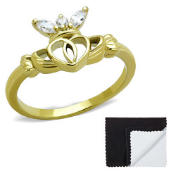 Stainless Steel IP Gold Plated Irish Claddagh Heart Cubic Zirconia Ring