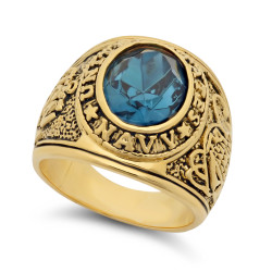 Large 15mm 14k Gold Plated Simulated Aquamarine Blue CZ Military Ring + Microfiber