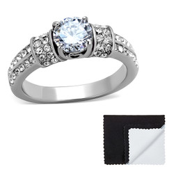 Stainless Steel Round Cubic Zirconia Engagement Ring