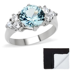 Stainless Steel Aqua Round Cubic Zirconia Promise Ring