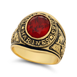 Large 15mm 14k Gold Plated Simulated Ruby Red CZ Military Style Ring + Microfiber