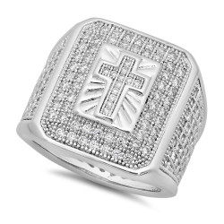 Rhodium Plated Micro-Pave Iced Out Cubic Zirconia Cross Ring + Microfiber