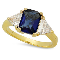 Gold Plated Emerald-Cut Dark Royal Blue CZ Three-Stone Ring + Microfiber