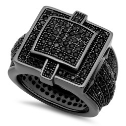 Black Plated Square Micro-Pave Iced Out Cubic Zirconia Hip Hop Ring + Polishing Cloth