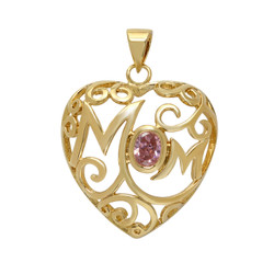 Gold Plated Open Scrolled Mom Heart Pendant w/Pink Oval CZ + Microfiber