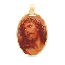 23mm x 30mm Crown of Thorns Jesus Portrait 14k Gold Plated Edge Pendant