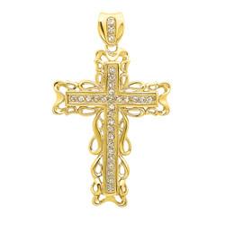 Men's 2 Inch Large 14k Gold Plated Filigree Framed Cubic Zirconia Cross Pendant (48.5mm x 64mm)