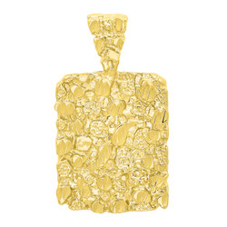 14k Gold Plated Chunky Nugget Textured 25mm x 32mm Rectangular Pendant + Microfiber