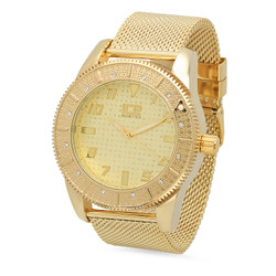 Gold Plated Ice Master Gold Dial Watch with CZ Bezel & Mesh Band + Microfiber