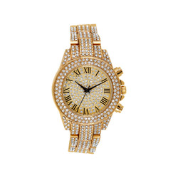 Men's 14k Gold Plated Fully Iced Out Cubic Zirconia Simulated Diamond CZ Watch + Polishing Cloth
