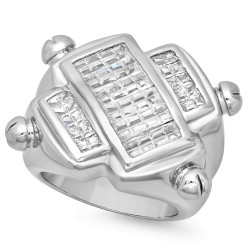 Men's Rhodium Plated Solid 925 Sterling Silver Ring With CZ Stones + Anti-Tarnish Velvet Pouch