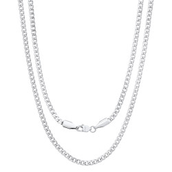 3mm High-Polished Stainless Steel Flat Cuban Link Curb Chain Necklace