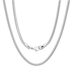 3.2mm High-Polished Stainless Steel Round Snake Chain Necklace