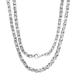 Men's 4.7mm High-Polished Stainless Steel Flat Byzantine Chain Necklace