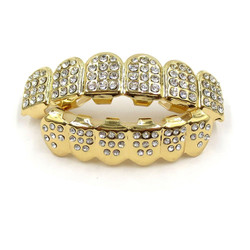 24k Gold Plated CZ Iced Out Removable Top & Bottom Teeth Grillz Set + Polishing Cloth