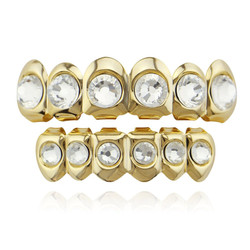 24k Gold Plated Round CZ Diamonds Removable Top & Bottom Teeth Grillz Set