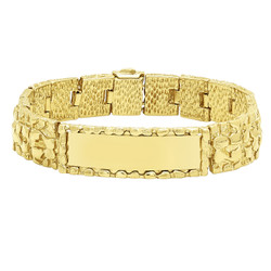 Thick 15mm 14k Gold Plated Large Nugget Textured ID Link Bracelet + Microfiber