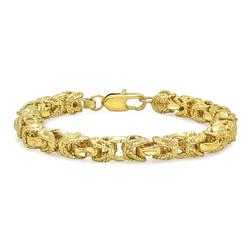 8mm Diamond-Cut 0.25 mils 14k Yellow Gold Plated Puffed Puffed Byzantine Puffed Byzantine Chain Link Bracelet