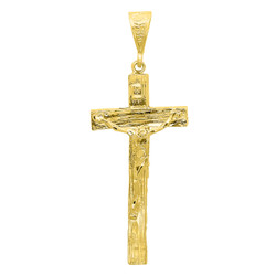 Large 36.5mm x 7.2 cm 14k Gold Plated Wood Textured Crucifix Pendant + Microfiber