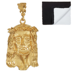 Large 27mm x 49mm 14k Gold Plated Crown Of Thorns Jesus Face Pendant, + Microfiber
