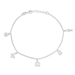 2mm High-Polished .925 Sterling Silver Round Charm Anklet, 10 inches