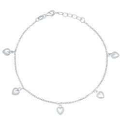 1.6mm Solid .925 Sterling Silver Round Charm Anklet, 10 inches