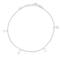1.8mm Solid .925 Sterling Silver Round Charm Anklet, 10 inches